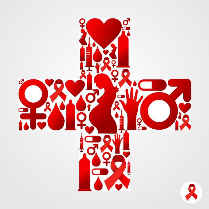 artistic interpretation of a ER cross using red-color icons
