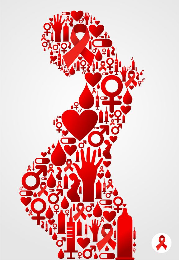 artistic interpretation of pregnant woman using red-color icons