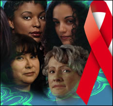 collage of women's faces with the red hope ribbon